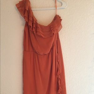NWT JESSICA SIMPSON RUFFLE DRESS IN RUST